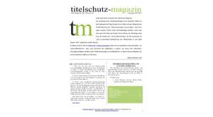 Titelschutz Magazin Ausgabe MAi 2015