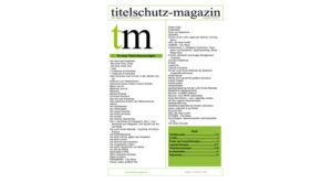 Deckblatt Titelschutz Magazin