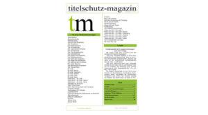Cover Titelschutz Magazin November 2017