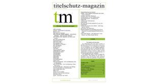 Cover Titelschutz Magazin Mai 2018