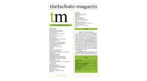 Cover Titelschutz Magazin Juni 2018