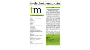 Cover Titelschutz Magazin August 2018
