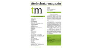 Titelschutz Magazin November 2018