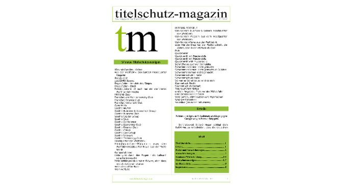 Cover Titelschutz Magazin Dezember 2018