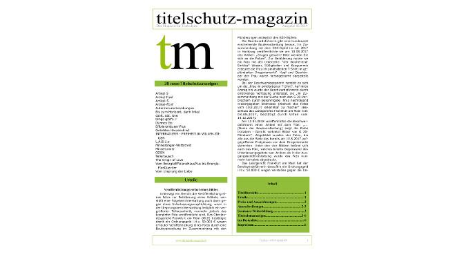 Cover Titelschutz Magazin Februar 2019